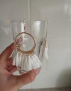kolczyki białe boho wesele frędzle nude wiszące glamour gypsy r...