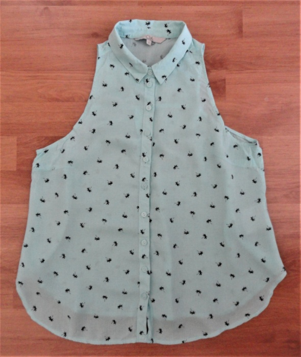 Miętowa letnia bluzka koszula palmy C&A s...