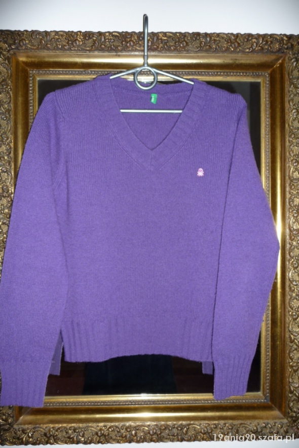 Fioletowy sweter Benetton S