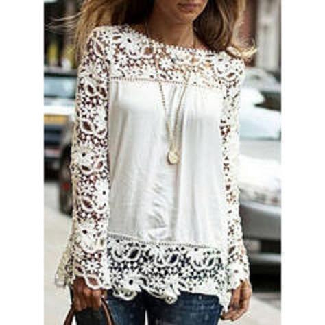bluzka S koronka Długie rękawy Casual Bluzka biała