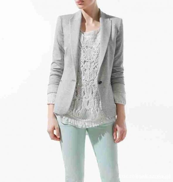 Zara Basic szara marynarka blazer na guzik L