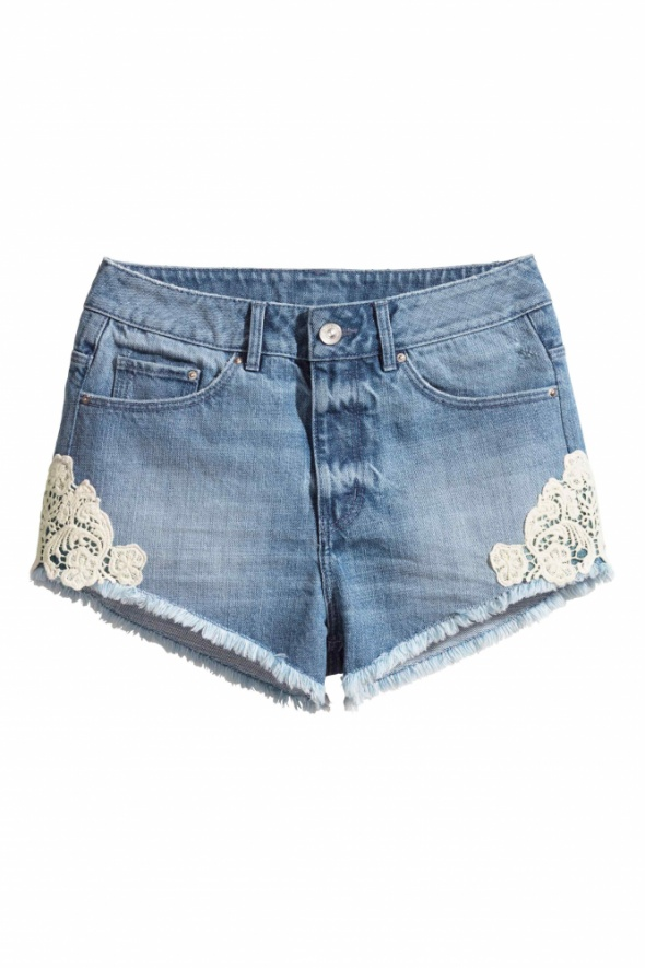 Spodenki H&M szorty spodenki jeansowe 34 xs koronka wysoki