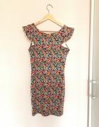 Bershka sukienka z falbanką w kwiaty floral 38 M