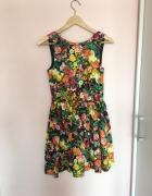 ZARA sukienka floral rozkloszowana 34 xs kwiaty