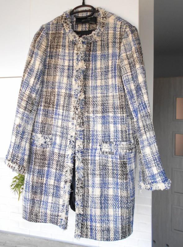 Zara nowy płaszcz tweed retro kratka wystrzępiony retro babydoll