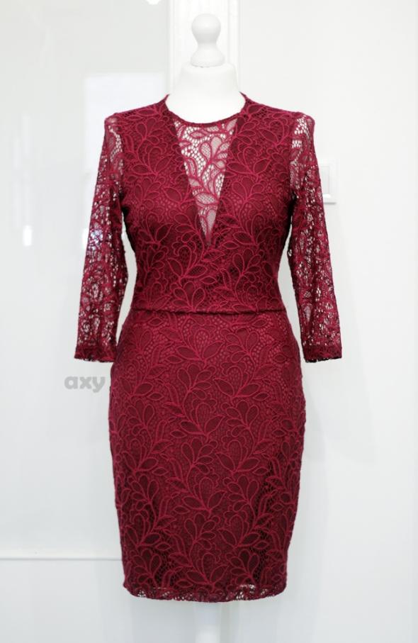 Burgundowa koronkowa sukienka M L...