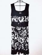 Two Blue Plus Size Czarna biała dłuższa sukienka ozdobny pasek...