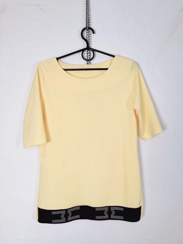 Żółta cytrynowa bluzeczka ozdobny pas u dołu z dżetami...