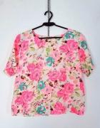 Cherry Koko Kremowa bluzeczka krótki rękaw wzór motyw kolorowe ...