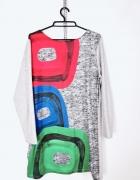 Dora Plus Size Popielata sukienka czerwone niebieskie zielone p...