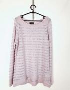 Jasny pastelowy liliowy wrzosowy sweterek punktowe cekiny rękaw...