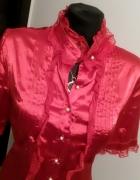 Idealnie skrojona NOWA satynowa czerwona bluzka XL