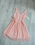 Nowa cudna różowa sukienka tiulowa pudrowy róż kokarda tiul...