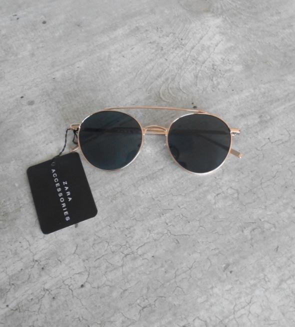 Zara nowe okulary przeciwsłoneczne złote lennonki