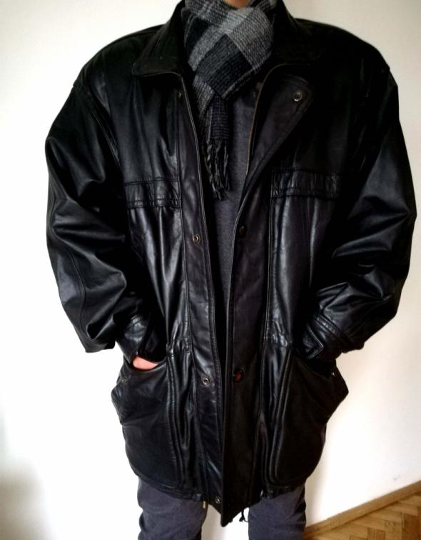 Czarna kurtka męska skórzana ze skóry bydlecej L 40 bardzo dobry stan