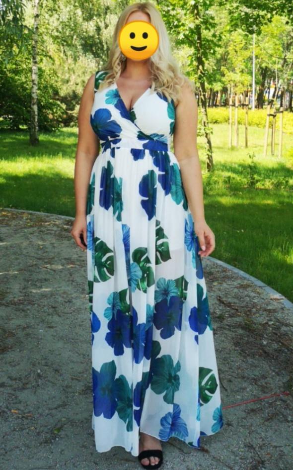 Sukienka zwiewna kwiaty lato maxi Roco 42