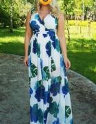 Sukienka zwiewna kwiaty lato maxi Roco 42...
