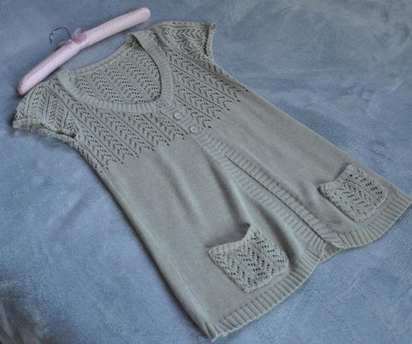beż sweterek narzutka ażur S M