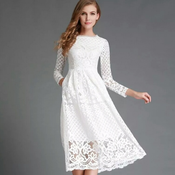 elegancka kornonkowa biala sukienka nowa
