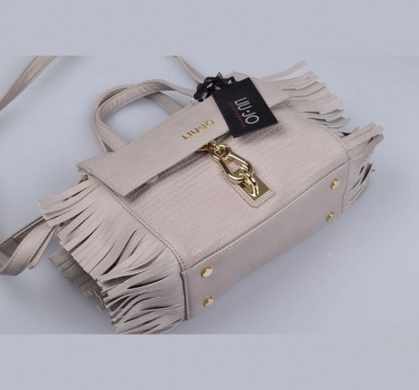 Oryginalna Liu Jo torebka frędzle beżowa