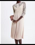 Nowa Sukienka Zara Nude Plisowana S 36...