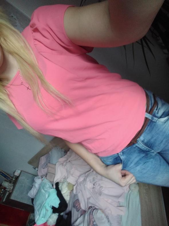 Różowa bluzka z krótkim rękawem s m lekka dorothy Perkins...