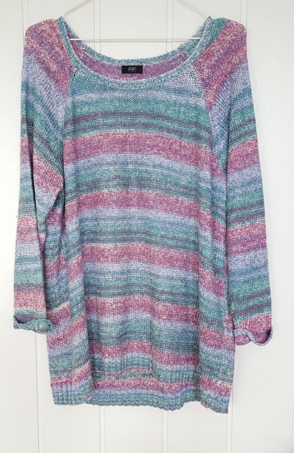 Kolorowy sweter F&F 50 XXXXXL 5XL niebieski fioletowy oversize długi