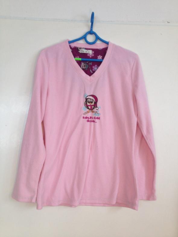 Milutka ciepła piżama bluzka góra pastelowy róż nadruk S M 36 38 pingiwn