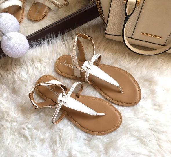 Sandały Damskie białe skóra 37