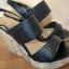 sandały na koturnie New Look Wide Fit 40 255 cm czarne korkowe skórka