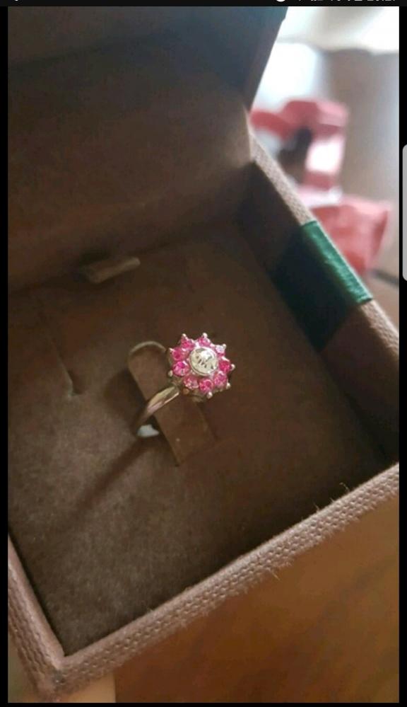 Pierścionek różowe oczko