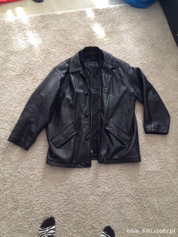 skórzana czarna kurtka z pikowaną podpinką