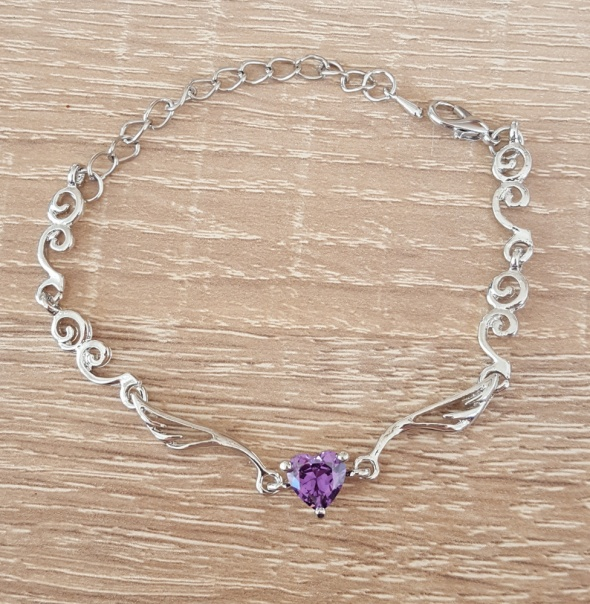 Nowa bransoletka delikatna srebrny kolor fioletowe serce fiolet kamień cyrkonia