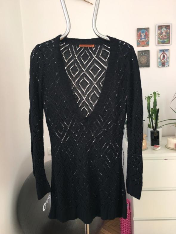 czarny długi sweter tunika L
