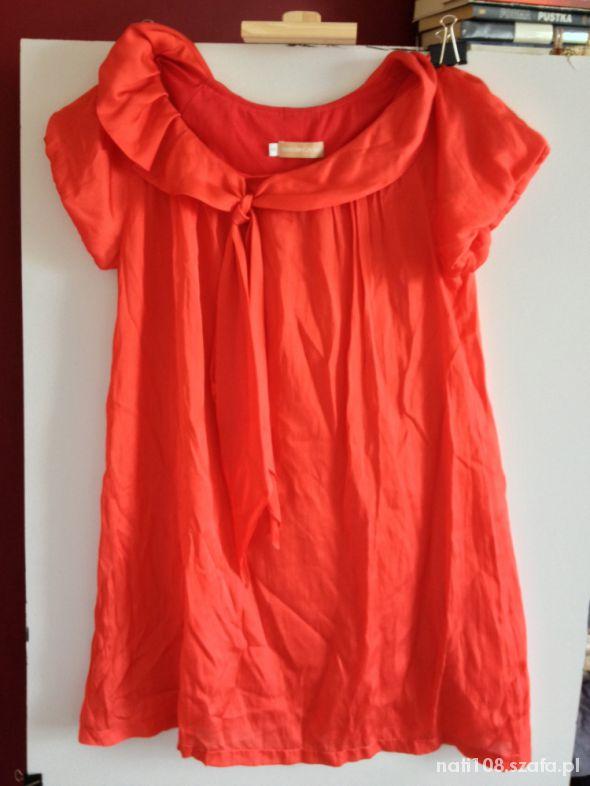 Czerwona tunika bluzeczka rozm S M atłasowa