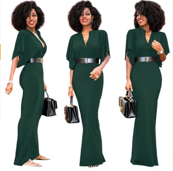 Piękna sukienka zielona maxi 44 XXL...