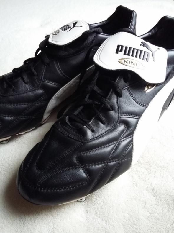 3f8d1862 skórzane korki buty sportowe męskie Puma King Pro SG Duo Flex czarno białe