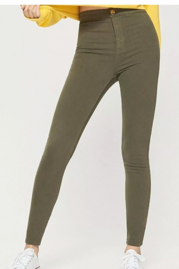Spodnie skinny khaki wysoki stan Sinsay XS...