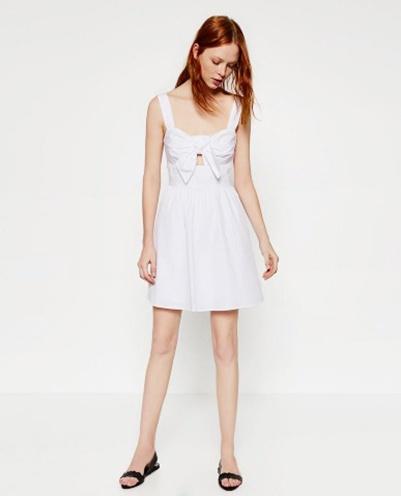 Biała sukienka Zara rozkloszowana na lato...