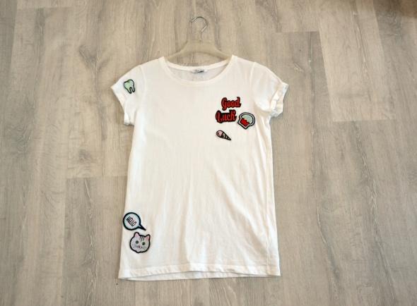 House biały t shirt z naszywkami klasyczna koszulka XS komiks...