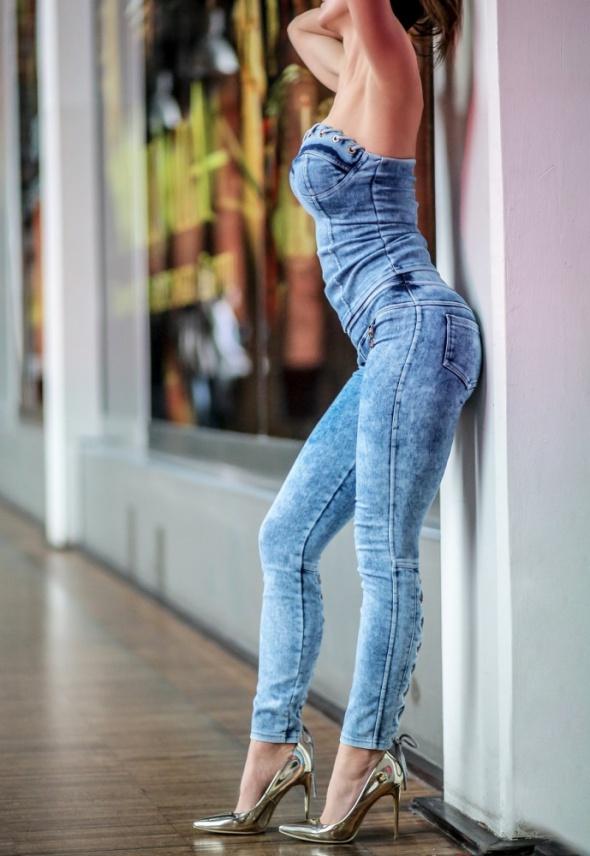 Legginsy jeans z wiązaniem na łydce HIT