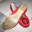 Czerwone satynowe balerinki z klamrą Graceland