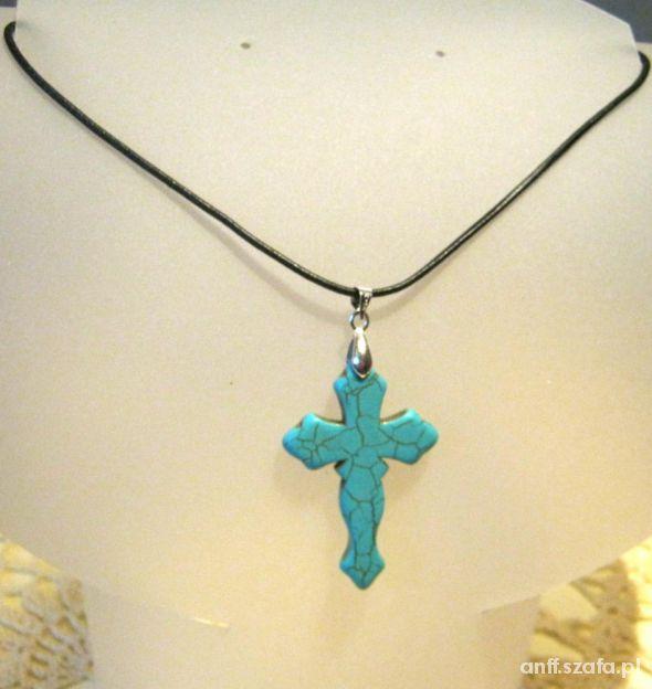 Krzyż z turkusa na rzemieniu dla niej i dla niego