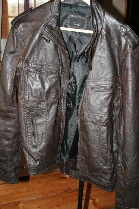 eko skóra brąz Zara Man 40 męska kurtka pilotka w Odzież