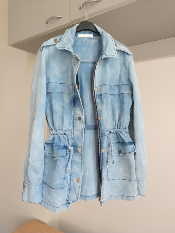 Kurtka parka jeansowa błękitna