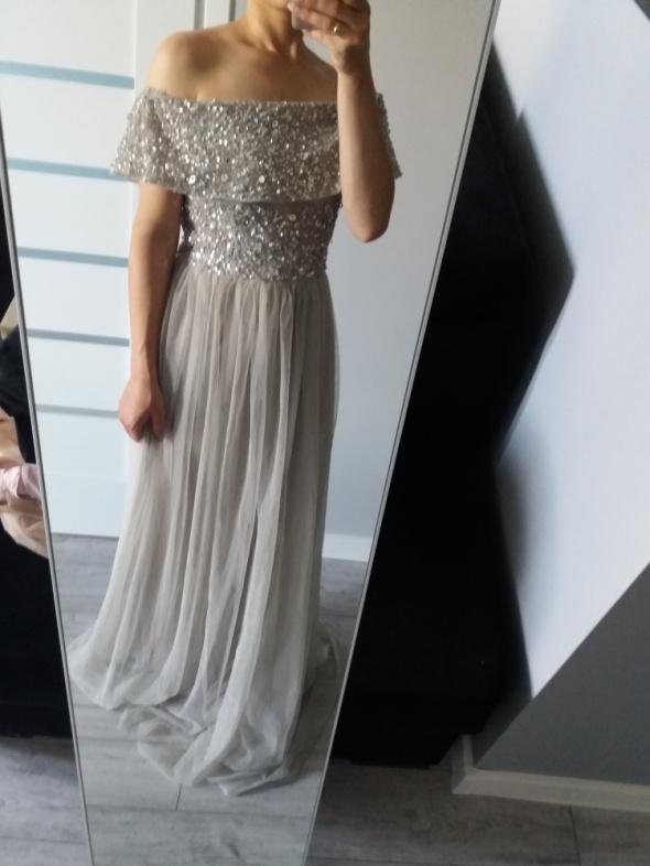 Sukienka bardot długa tiulowa cekiny zdobienia ASOS L...