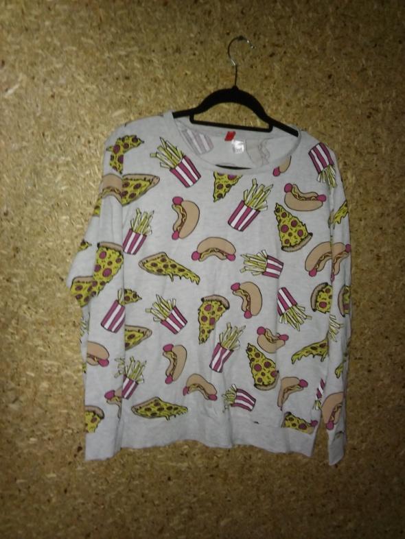 H&M Szara cienka bluza nadruk jedzenie 38