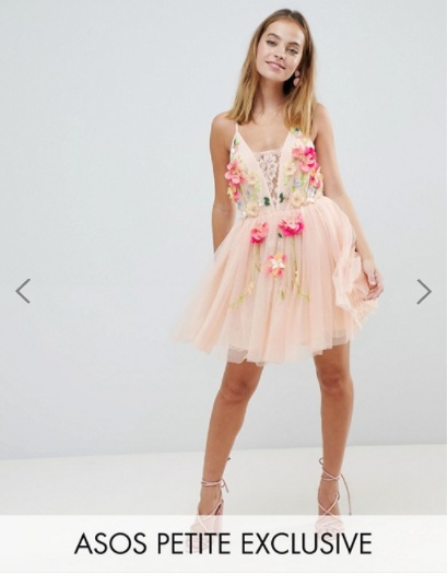 ASOS DESIGN Petite tulle 3D embellished flower mini dress...