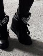 Piękne czarne sneakersy z kryształkami SERCE 40...