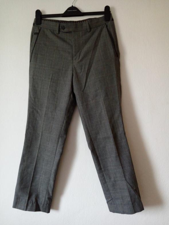 Kraciaste szare eleganckie spodnie